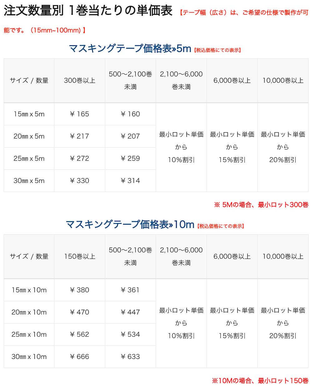 ミライテープの価格表