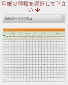 純白ロール(34.5kg)の価格表